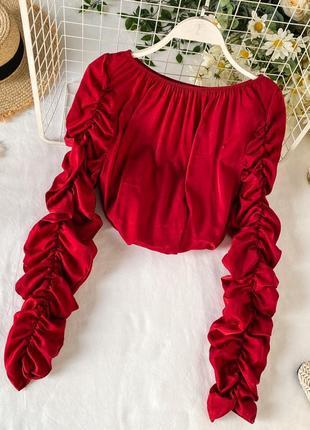 Красная блуза с драпированными рукавами, блуза свободного кроя на плечи с резинкой