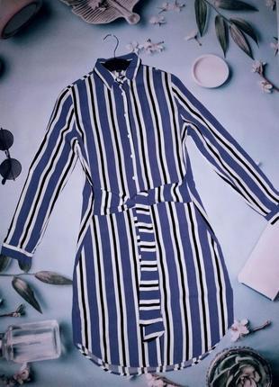 Голубое платье рубашка в полоску с рукавом под пояс