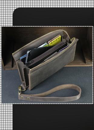 Мужской вместительный кошелек клатч из натуральной винтажной кожи + ремешок, цвет шоколад