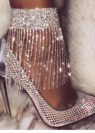 Роскошные в камни блестящие серебряные сверкающие люкс браслеты на ножку accessorize