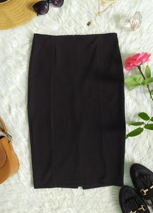 Классическая базовая черная юбка карандаш длины миди