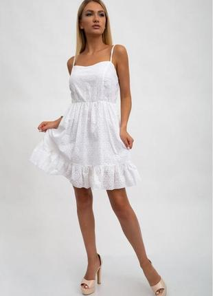 Новое белое красивое легкое платье сарафан из натурального материала хлопка