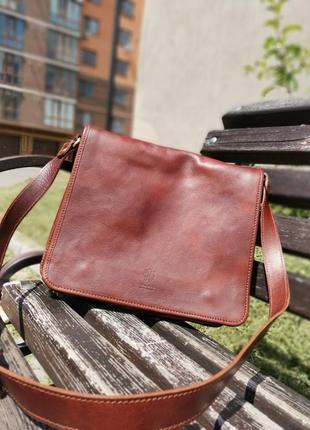 Мужская сумка на плечо а-4 сумка из натуральной кожи vera pelle italy