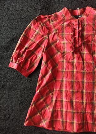 Очаровательная удлиненная блуза трапеция в клетку, с объемным рукавом, h&m