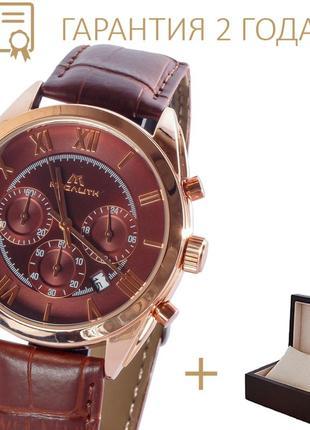 Мужские часы megalith chronograph brown-gold/ новые/ 2 года гарантии