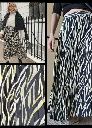 Трендовая  юбка плиссе миди с анималистичным принтомтигр 🐾