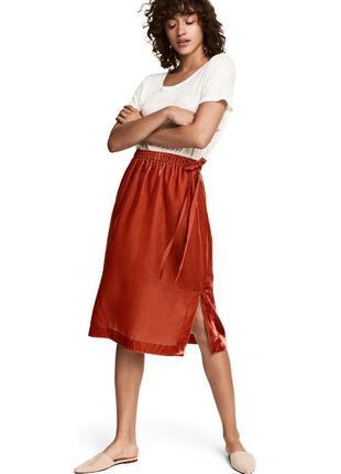 H&m юбка плюш терракотовая новая