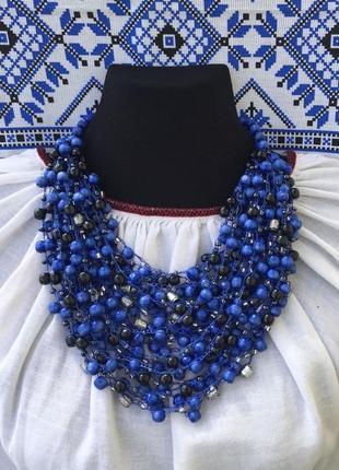 Синьо-чорне намисто, ідеально під плаття