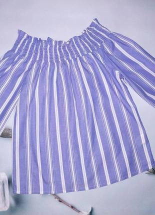 Легкая голубая котоновая рубашка/блузка в белую полоску с резинкой на плечах