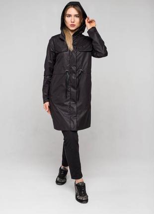 Черная женская легкая демисезонная осенняя парка, куртка, ветровка (дождевик)