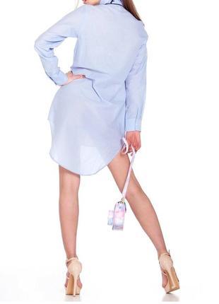 Голубая удлиренная шелковая хлопковая рубашка туника хлопок шелк