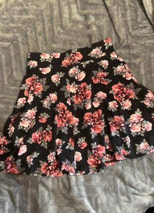 Цветочная юбка клеш/солнце