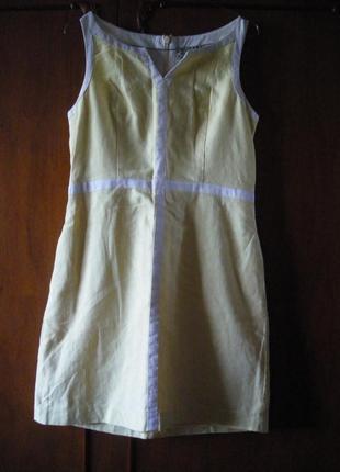Платье next лимонно жёлтое летнее р.10 хлопок лён