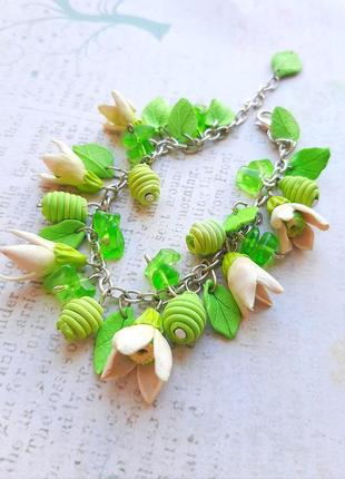 Браслет цвет зел белый салатов цепочка сер полимерн ручн раб ландыш лист камни