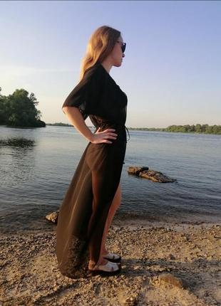 Парео черное чёрное длинная туника пляжная накидка на купальник черная