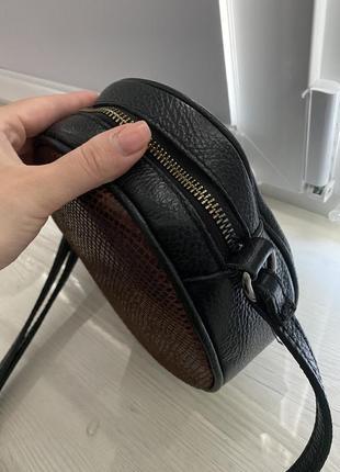Кожаная сумка,кроссбоди, кожаная круглая сумочка