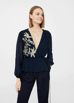 Блузка блуза рубашка назапах манго l