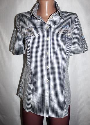 Женская рубашка тенниска клетка стрейч gerry weber 46-50р