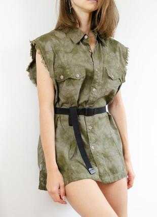 Свободная oversize рубашка безрукавка с рваностями тай дай, tie dye короткое платье