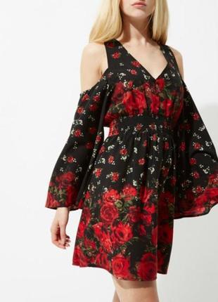 Платье  с открытыми плечами и цветочным принтом river island