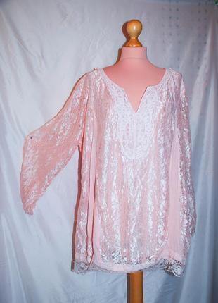 Ажурная кружевная блуза свободная батал