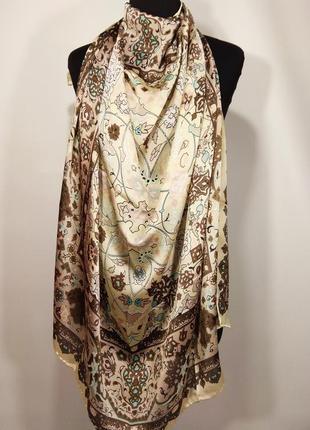 Платок шаль valentino натуральный шелк 100% бежевый коричневый шелковый