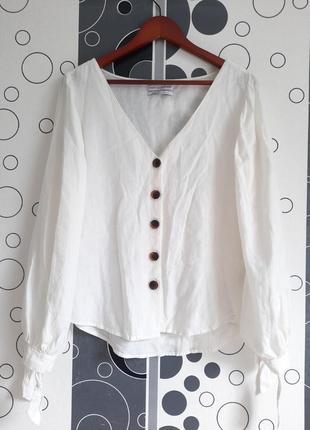 Винтажная молочная льняная рубашка блуза блузка оверсайз