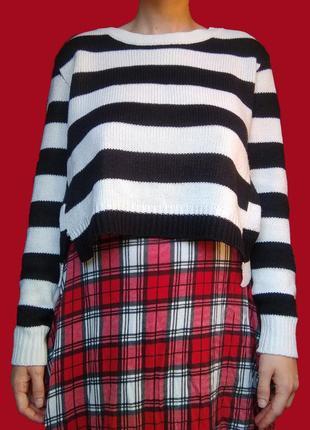 Кроп-свитер в полоску h&m