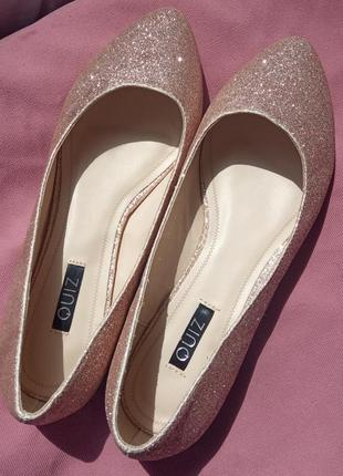 Балетки туфли блестящие