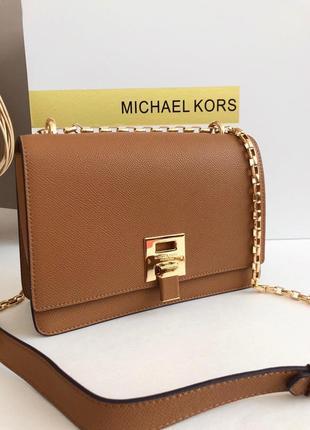 💛кожаная женская сумка на плечо коричневая, чёрная michael kors💛