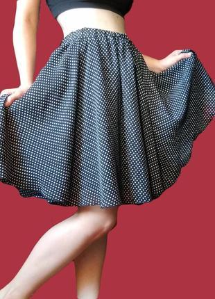 Шифоновая юбка в горошек