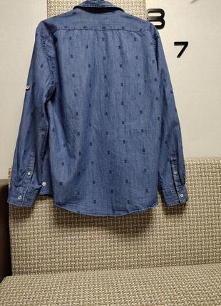 Модная джинсовая рубашка мужская с ананасами💚