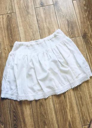 Хлопковая юбка с кружевом по низу на широкой эластичной резинке по талии от cherokee