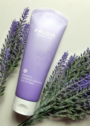 💜 пенка для умывания frudia blueberry hydrating cleansing gel to foam, 145 мл