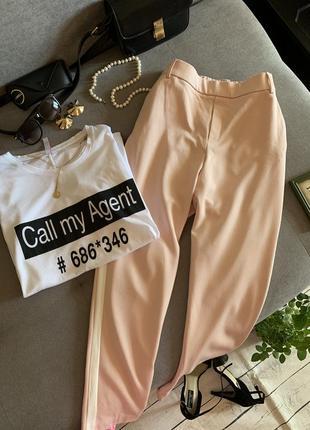 Крутые пудровые брюки с лампасами zara р.м