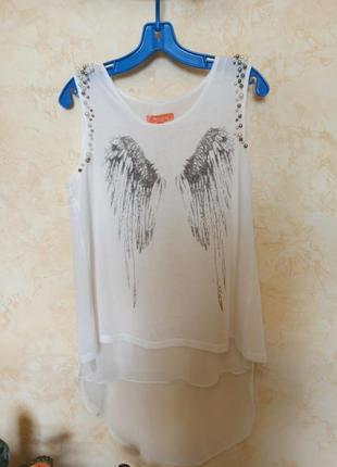 Красивая удлиненная футболка, крылья