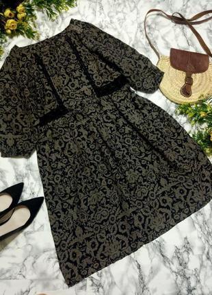 Красивое летнее платье в цветы с кружевом вискоза размер 16-18 (46-48)