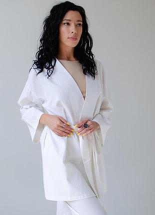 Кимоно из льна, цвет белый