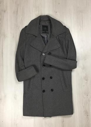 F9 двубортное серое пальто jasper conran курточка куртка мужское пальто серое с пуговицами