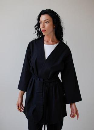 Кимоно из льна, цвет черный