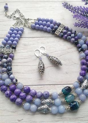 Фіолетове намисто з натурального агату