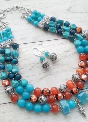 Блакитно- оранжеве намисто з натурального каміння та розкішного скла