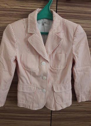 🌞белый в полоску летний пиджак хлопок кардиган жакет накладные карманы