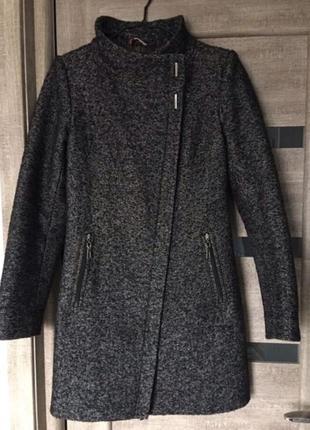 Пальто женское серое утеплённое
