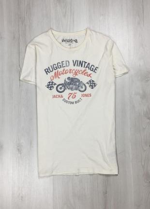 Z9 футболка jack&jones белая с принтом мужская джек джонс тенниска