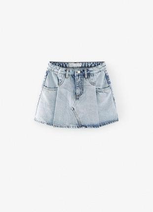 Джинсовая юбка с эффектом потертости zara