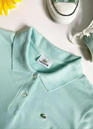 Женское мятное поло lacoste футболка