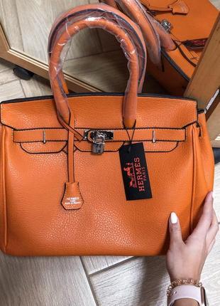 Шикарная женская сумка hermes в оранжевом цвете😍