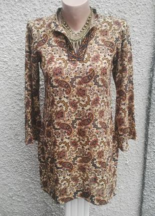 Блузка,туника,рубаха удлиненная,восточный принт(огурцы),этно,бохо стиль