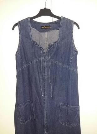 Красивый  джинсовый платье -сарафан .оверсайс.